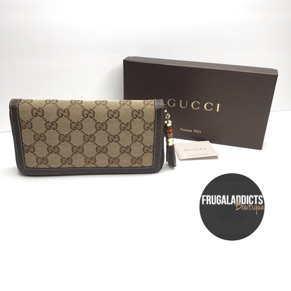 d396944297a AUTHENTIC Gucci Canvas GG Wallet Brown Leather. NWT
